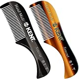 Kent 81T Tortoiseshell/Graphite X-Small Men's Beard and Mustache Pocket Comb, Fine Toothed Pocket Size for Facial Hair Grooming. Saw-cut of Cellulose Acetate, Hand Polished. Hand-Made in England