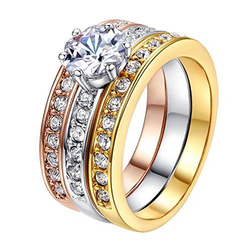 Yoursfs Bague Or Mariage 50mm Solitaire en Diamant de synthèse Bijoux Fantaisie pour Femme ou Homme Idée Cadeau Fête