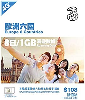 Three プリペイドSIMカード 3in1SIM APN設定不要 データ通信専用 海外旅行 出張 短期留学 Hutchison SIM 多言語マニュアル付(日本語・英語・中国語) (ヨーロッパ8day1GB)