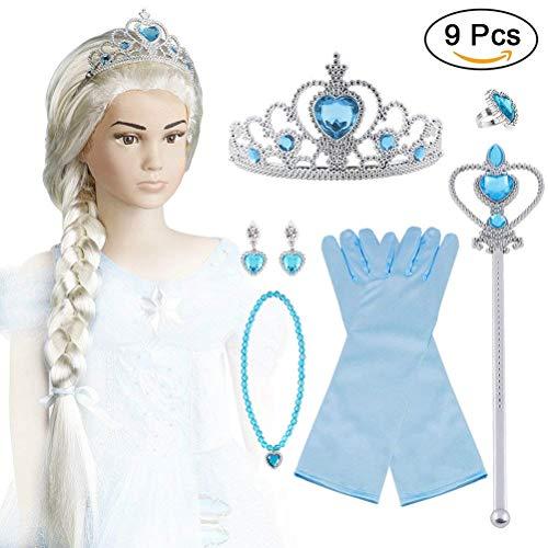 Vicloon ELSA Set, ELSA Handschuhe, Pfirsichherz Krone , Zauberstab, Halskette, Ring, Ohrring, Clip-On Toupet, Set von 9