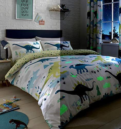 Bedlam Dino-Glow in The Dark Duvet Cover Set, Multicolour, Double