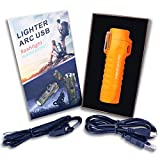 MENG ZHI AO Outdoor Waterproof Lighter Double Arc Plasma Lighter with LED Bright Flashlight USB Rechargeable Lighter Windproof Flameless Lighter Prefect for Camping Hiking Fire Starter (Orange)