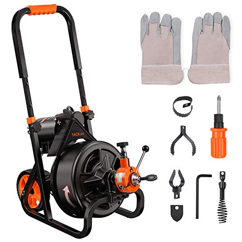 """TACKLIFE Drain Cleaner Machine 75 Ft x 1/2 Inch Electric Drain Auger, Autofeed, Fit 2""""(50mm) to 4""""(100mm) Pipes, 6 Cutters, Drain Snake Plumbing Snake for Drain Cleaners, Service Plumbers- DCM01A …"""