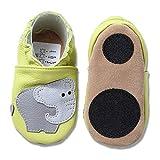 HOBEA-Germany Baby Lauflernschuhe Tiermotiv mit Anti-Rutsch-Sohle, Kinder Hausschuhe mit Tiermotiv: Elefant hellgrün, Größe: 18/19 (6-12 Mon)