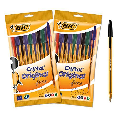 BIC Cristal Original Fine Stylos-Bille Punta fina (0,8 mm) – Colores surtidos – Lote de 2 sobres de 10