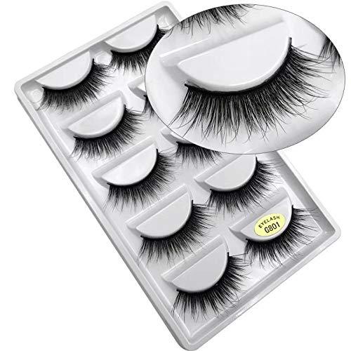 LINSUNG naturel épais Faux cils 3D extension de maquillage paquet de 5 paires faux cils à la main G801