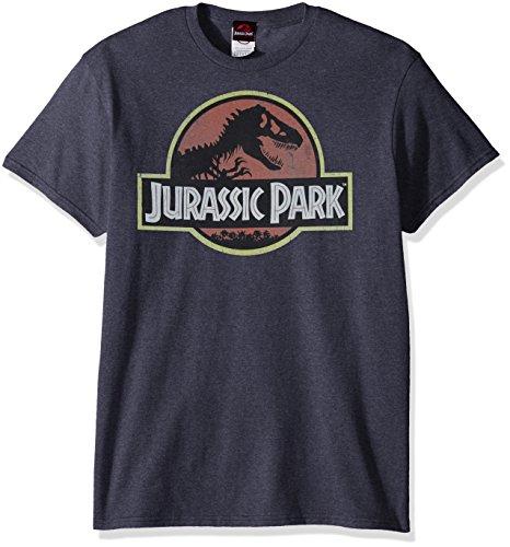 Jurassic Park Men's Movie Logo T-Shirt, Navy Heather, Medium