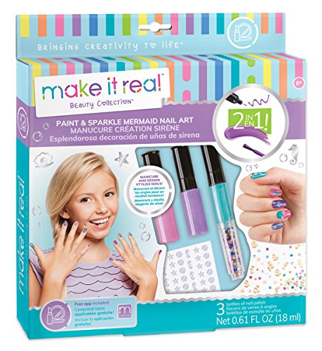 Make It Real Paint & Sparkle Mermaid Nail Art, Mermaid Nagellack, Aufkleber und Dekoration Kit für Mädchen, Enthält Mermaid Nagellack, Mermaid Aufkleber und Mermaid-Nagel-Kunst-Dekorationen