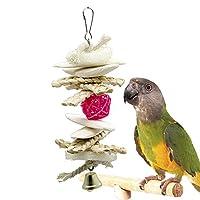 WASAIO オウム鳥木製ペットのおもちゃ小さなペット用品イカオウム鳥のおもちゃ (色 : ホワイト, サイズ : 20*10cm)