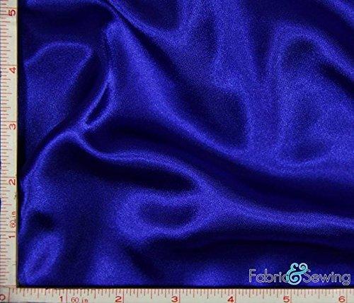 Royal Blue Shiny & Dull Stretch Charmeuse Satin Fabric 2 Way Stretch Polyester Spandex 5 Oz 57-58'