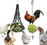 LeerKing Hähnchen Edelstahl Spieß Obst und Gemüsehalter Fruchthalter Hühner Hängendes Spielzeug Zubehör Mit Netzbeutel 2er Pack für Geflügel Hens Enten Gänse