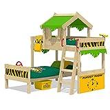 WICKEY Litera CrAzY Jungle Cama alta Cama de matrimonio infantil 90x200 con somier de madera y techo, verde manzana-amarillo