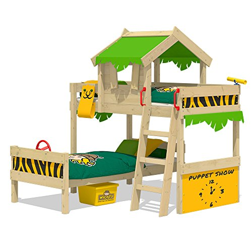 WICKEY Kinderbett Etagenbett Crazy Jungle - apfelgrün/gelbe Plane Hausbett, 90 x 200 cm Hochbett