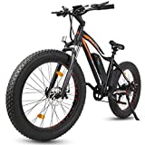 """ECOTRIC Powerful Electric Bicycle 26"""" Fat Tire 500W Motor 36V/13AH Removable Battery Ebike Beach Snow Mountain Bike (Black)"""