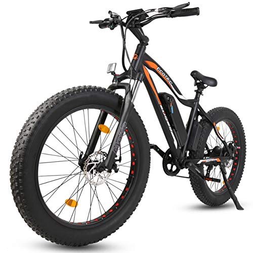 "ECOTRIC Powerful Electric Bicycle 26"" Fat Tire 500W Motor 36V/13AH Removable Battery Ebike Beach Snow Mountain Bike (Black)"