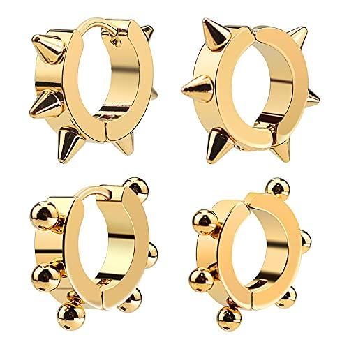 Anjing 2 pares de pendientes de aro para hombres y niñas, regalos de cumpleaños para mamá, acero de titanio