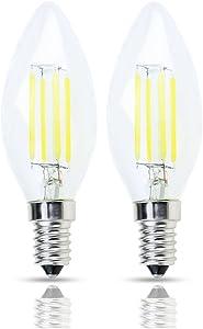 Lamsky E14 Base LED Filament Candle Shape Light Bulb,E14 European Base Bulb,Daylight 6000K 400LM 40W Equivalent,C35 Clear Glass Torpedo Shape Bullet Top,No-Dimmable (2-Pack)