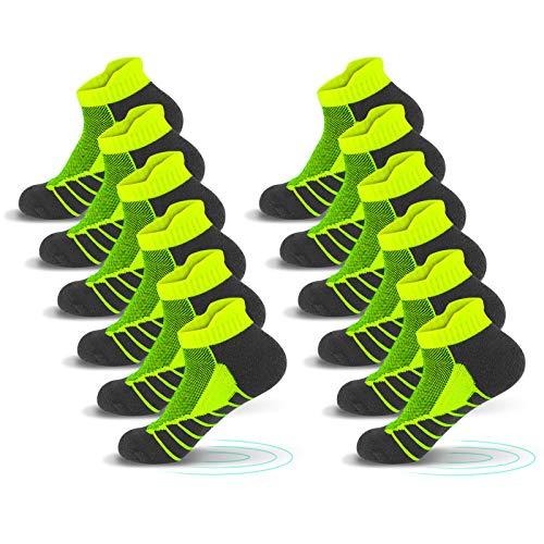 QINCAO Calcetines Tobilleros Hombre y Mujer 6 Pares Calcetín Deporte de Algodón Anti-ampollas Acolchados Calcetines Cortos 6 x Verde 39-42