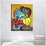 Pablo Picasso Two Girls Reading Canvas Painting Print Living Room Home Decor Artwork Modern Wall Art Painting Poster Picture-50x70cmx1 No Frame