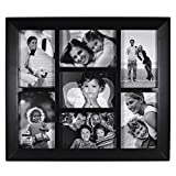 Malden International Designs Berkeley Beveled Edge Wood Collage Picture Frame, 7 Option, 7-4x6, Black
