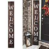 DQ Home Decor| Welcome Sign for Front Door 72inch Front Porch Home Decor Indoor Outdoor Wood Sign, Vertical, Stained…