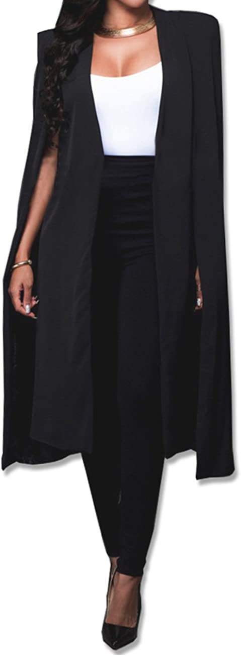 Surprise price Women's Long Open Slit Sleeve Cloak New product Trench Fro Jacket Capes