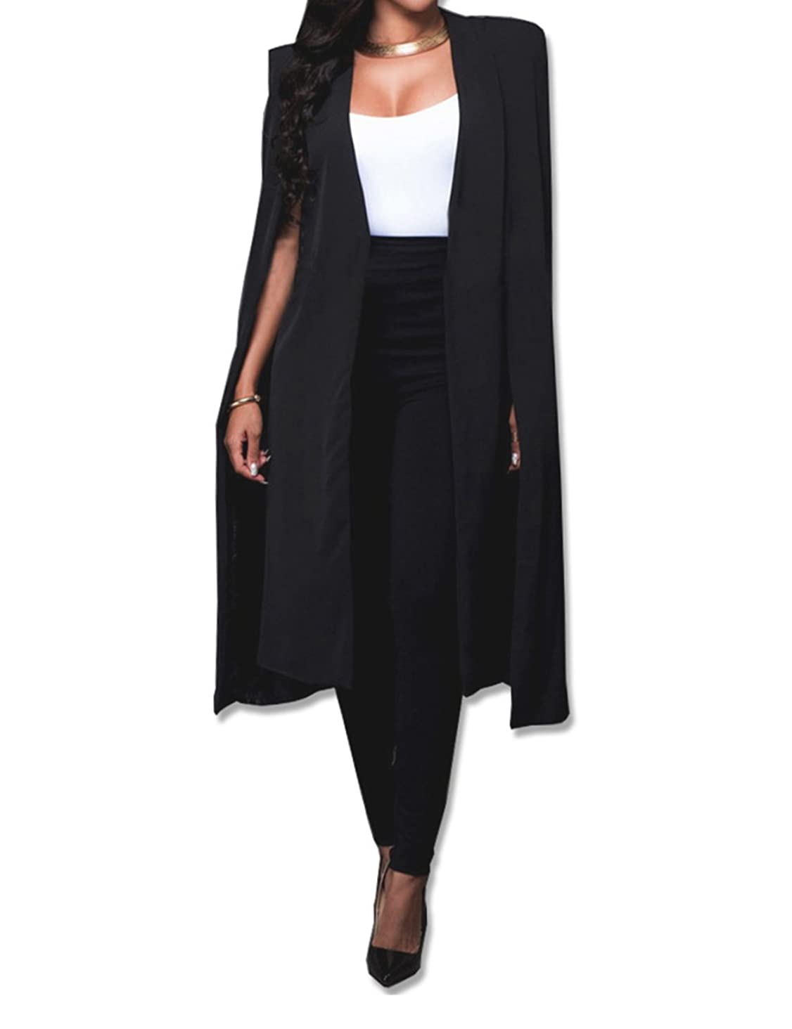 Women's Long Open Slit Sleeve Cloak Capes Jacket 4XXL Open Front Long Slit Crepe Blazer Cape Coat Plus Size