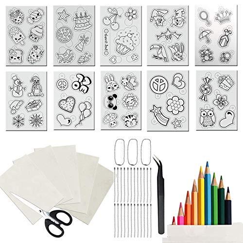 Woohome 49 Pz Kit de Papel Termoencogible, 15 Pz Hojas Termoencogibles con Lápices de Colores, Cadena de Bolas y Pinzas para La Oreja y Pinzas para Artesanía Creativa