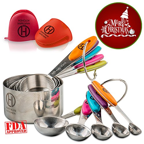 HARTMAN KITCHEN Measuring Cups & Spoons Set of 10 for Wet & Dry Ingredients. Stackable, Rust Proof, Stainless Steel Cups w/ Anti-Slip Colored Silicone Handles & Etched Measurements. Plus Bonus Gloves!