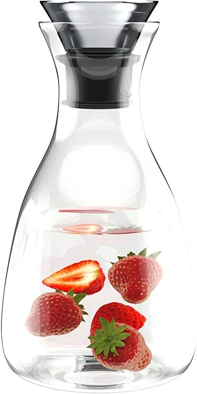 60oz Borosilicate Glass Carafe Water Bottle With Drip Free Lid By Comfify Glass Carafe Pitcher For Hot Chilled Beverages W Stainless Steel Lid Pitcher For Iced Tea Juices Water More