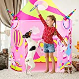 Retruth Kids Play Tent with Ring Toss, Unicorn Princess Tent w/ Mesh Window, Castle Tent Toys for Girls Age 2 3 4 5, Castle Playhouse for Toddlers w/ Carry Bag Pop Up Tent for Kids Indoor Outdoor