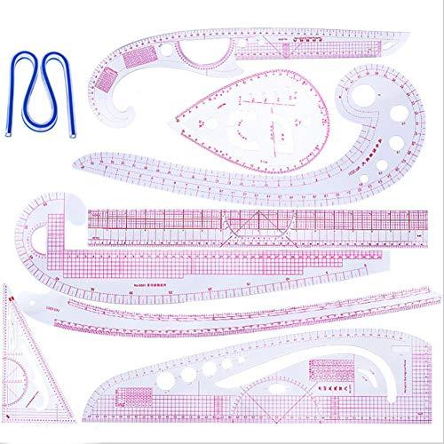 Kurve Lineal Nähen Set Flexibel Schneider 9 Stück Kleidungs-Lineal Kunststoff French Curve Lineale Dreieck Lineal Zeichnung Vorlagen Gebogene Grading Lineal Multifunktionale Schneidelineal