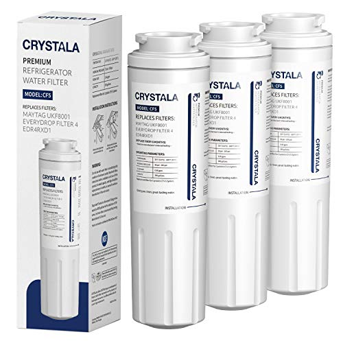 Crystala Filters UKF8001 Water Filter, Compatible with Refrigerator Water Filter Whirlpool 4396395, Filter 4, Maytag UKF8001, EDR4RXD1, UKF8001AXX, UKF8001P, Puriclean II, 469006, (3 Pack)