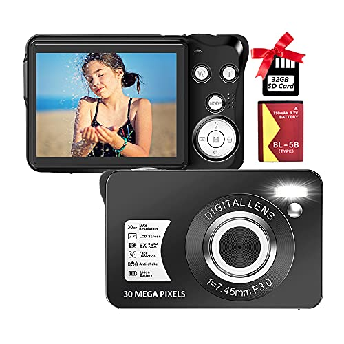 Digital Camera Compact Camera 30 MP Digital Cameras Mini Camera 2.7 inch LCD Screen Vlogging Camera with 8X Digital Zoom Camera for Adult, Kids, Beginners(with 32GB SD Card and Battery),Black