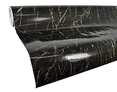Papel de contacto de mármol para encimera, papel pintado de granito negro de imitación de mármol brillante película de vinilo autoadhesivo adhesivo para pared extraíble de 24 x 78 pulgadas
