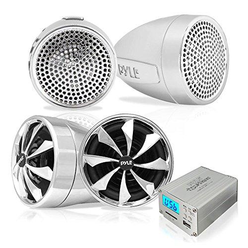 Pyle 600 Watt 4-Kanal-Verstärker Wetterfeste Lautsprecher mit MP3-/ iPod-Eingang