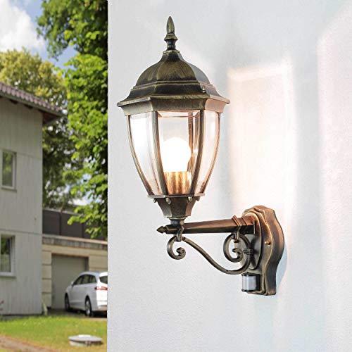 Rustikale Außenleuchte mit Bewegungsmelder Gold Antik wetterfest H:53cm Wandlampe E27 Balkon Terrasse