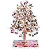 KYEYGWO Árbol de cristal curativo de turmalina, base de discos de ágata, alambre de cobre, árbol de dinero, Feng Shui, bonsáis, decoración para la suerte, riqueza y salud