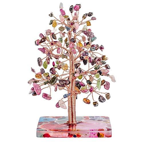 KYEYGWO Turmalina Árbol de cristal curativo con base de ágata, alambre de cobre, árbol de dinero Feng Shui Bonsai árbol decoración para la suerte, riqueza y salud