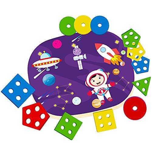 Giocattolo di Legno per Bambini, Montessori Giocattoli Legno, Giochi Educativi per Bambini, Forme Geometriche Impilatore, Regalo di Natale di Compleanno per 2/3/4/5 Anni
