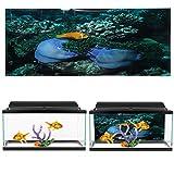 Decoración del tanque de peces Fondo marino Patrón de pez amarillo Tanques de peces Papel tapiz PVC Pegable para acuario Paisaje Varios tamaños para vida(91 * 50cm)