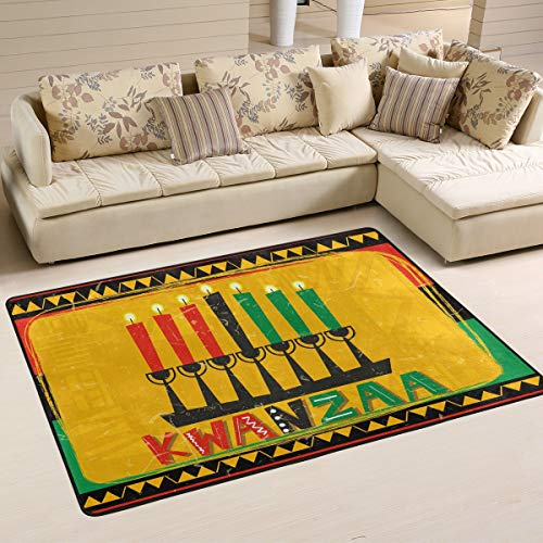 Happy Kwanzaa with Candle Area Rug 2' x 3' Door Mats Indoor Polyester Non Slip Multi Rectangle Carpet Kitchen Floor Runner Decoration for Home Bedroom Living Dining Room