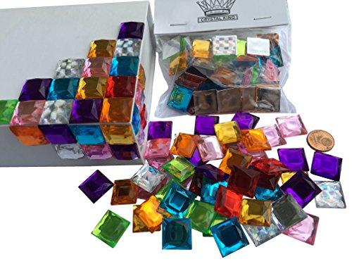 CRYSTAL KING Lot de 100 Pierres de mosaïque Autocollantes Multicolores Multicolores 16 mm pour décoration de Pierres en Acrylique Opale Effet Arc-en-Ciel