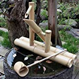 YXYOL Marco de bambú Goteo de Coches Que Fluye Paisaje Agua, Característica Zen jardín de la Fuente de Agua de bambú de Agua oscilante de la Bomba de Agua del Paisaje, decoración de jardín japonés