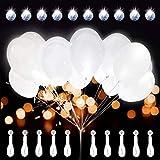 Leuchtende Luftballon mit LED Licht Hochzeit Deko 20 Stück über 24 Stunden 30cm Bunte Leuchtdauer für Hochzeiten Geburtstage Party Kindergeburtstag Happy Birthday Dekoration (Weiß Ohne Schalter)
