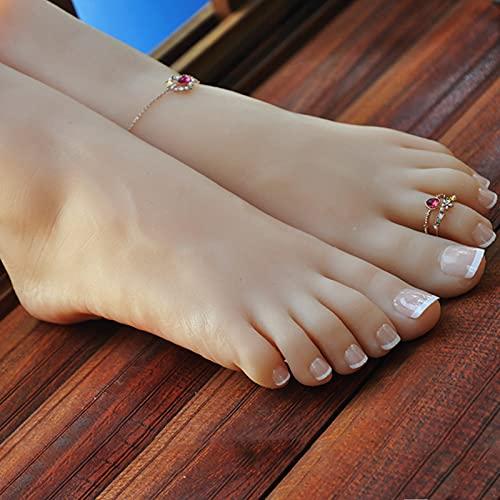 NCBH Pies maniquí, Mannequin Feet Female, Maniquí Modelo de Pie, Maniquí de Silicona Pie, Maniquí de Silicona Mujer Pie para Calcetín de Calzado Joyería,B,36