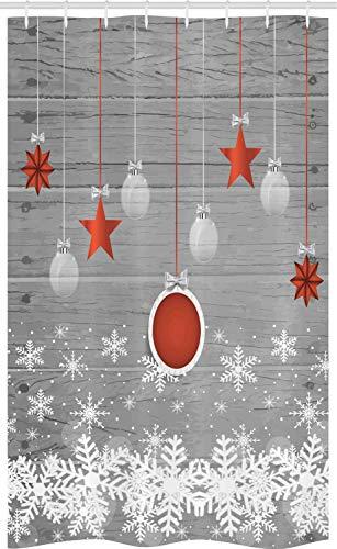 ABAKUHAUS Weihnachten Schmaler Duschvorhang, Sterne Flitter Schnee, Badezimmer Deko Set aus Stoff mit Haken, 120 x 180 cm, Weiß Grau Rot