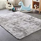 PAGISOFE Moderns Abstract Area Rugs Mats Decor Colors Rug for Bedroom Living Room Nursery Floor Fluffy Shag Rug Plush Fuzzy Shaggy Rugs (Gray and White), Multi Colored Accent Fur Rug Carpet (4' x 6')