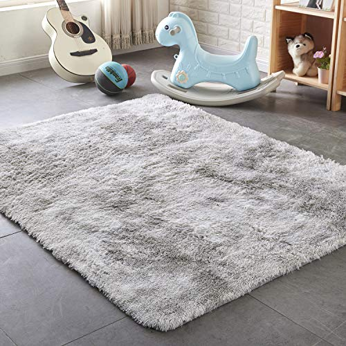 PAGISOFE Super Soft Large Rugs for Bedroom Living Room Kids Nursery, Fluffy Shag Floor Rug, Plush Fuzzy Shaggy Rugs, Gray and White Rug, Big Fur Rug Carpet, Moderns Abstract Area Rugs 5'x8'
