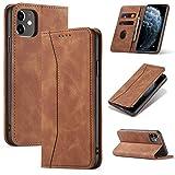 UEEBAI Funda tipo cartera para iPhone 6 iPhone 6S, de piel sintética de alta calidad, estilo vintage, mate, con ranuras para tarjetas, cierre magnético, función atril, a prueba de golpes, color marrón
